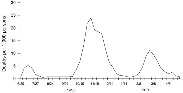 Figure 1: Monthly loss of life from Spanish Flu in the United Kingdom.